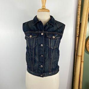 Rag & Bone Womens Denim Vest Distressed Button Up